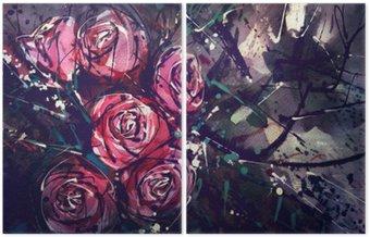 Díptico Acuarela rosas estilo de la pintura del arte abstracto.