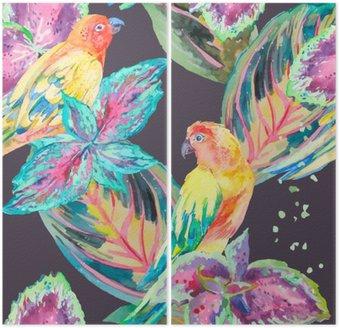Díptico Aquarela Papagaios .Tropical de flores e folhas.