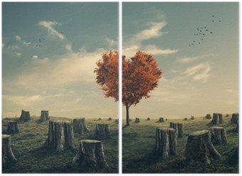 Díptico Árbol en forma de corazón en el bosque talado