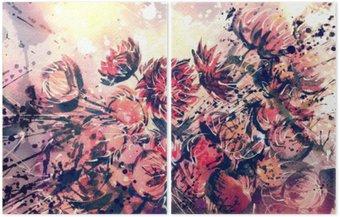 Díptico Desenho, aguarela do ramalhete de flores de palha