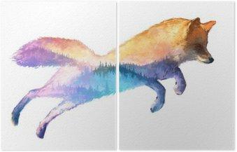 Díptico Fox ilustración doble exposición