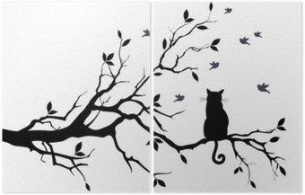Díptico Gato en un árbol con los pájaros, vector