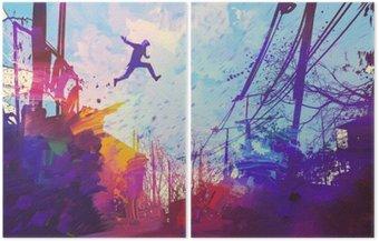 Díptico Homem que salta no telhado na cidade com grunge abstrato, pintura ilustração
