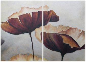Díptico La pintura abstracta de la amapola
