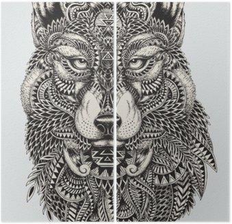Díptico Muy detallada lobo ilustración abstracta