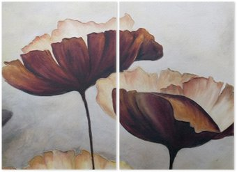 Díptico Pintura abstrata Poppy