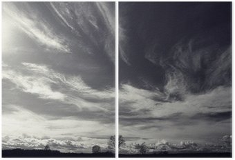 Díptico Preto e branco da foto da paisagem do outono