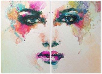 Díptico Retrato da mulher. aquarela abstrata. fundo moda