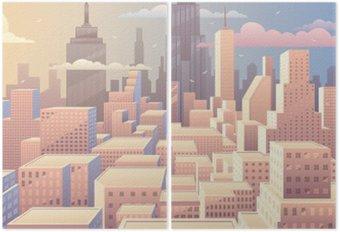 Díptico Salida del sol del paisaje urbano