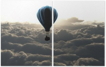 air balloon on sky Diptych