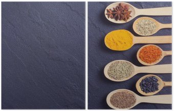 Diptych assortment of indian spices