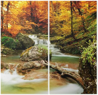 Autumn creek woods with yellow trees Diptych