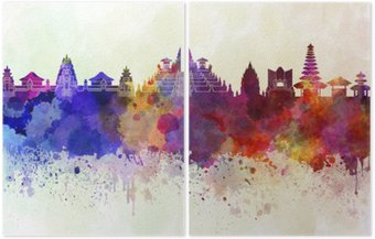 Diptych Bali skyline in watercolor background