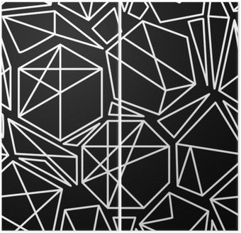 Black and white vector geometric seamless pattern Diptych