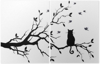 Diptych cat on a tree with birds, vector