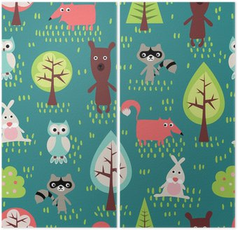Diptych Cute animals seamless pattern