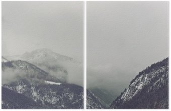 Diptych Dark clouds looming over mountain