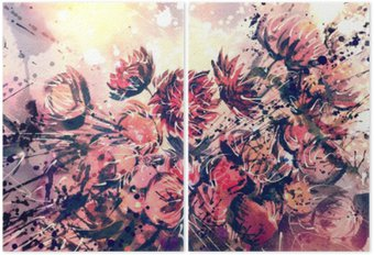 Diptych Drawing, watercolor bouquet of Straw flower