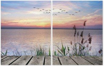 Diptych el lago de las nubes de colores