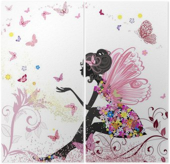 Diptych Flower Fairy in the environment of butterflies