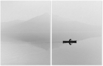 Diptych Fog over the lake. Silhouette of mountains in the background. The man floats in a boat with a paddle. Black and white