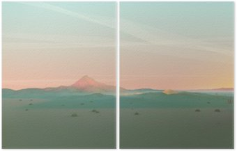 Geometric Mountain Landscape with Gradient Sky Diptych