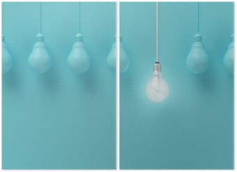 Diptych Hanging light bulbs with glowing one different idea on light blue background , Minimal concept idea , flat lay , top