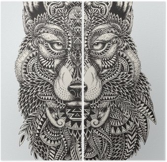 Highly detailed abstract wolf illustration Diptych