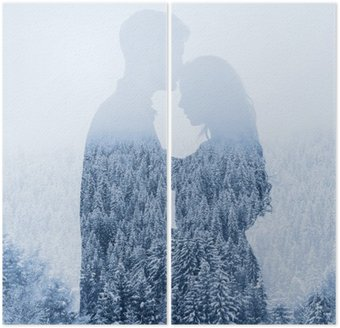 Diptych love in winter, silhouette of couple on forest background, double exposure