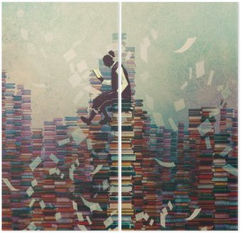 man reading book while sitting on pile of books,knowledge concept,illustration painting Diptych
