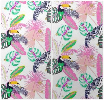 Diptych Monstera tropic pink plant leaves and toucan bird seamless pattern. Exotic nature pattern for fabric, wallpaper or apparel.