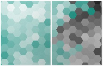 Diptych Pastel blue geometric hexagon pattern without contour.