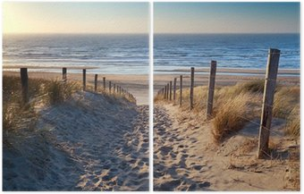 Diptych path to North sea beach in gold sunshine