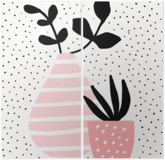 Pink Vase and Pot with Plants Diptych
