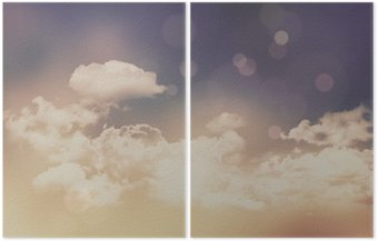 Diptych Retro clouds and sky background