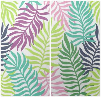 Seamless exotic pattern with palm leaves Diptych