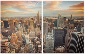 Sunset view of New York City looking over midtown Manhattan Diptych