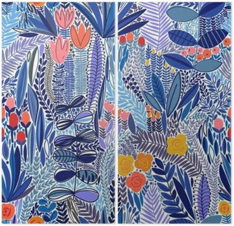 Tropical seamless floral pattern Diptych