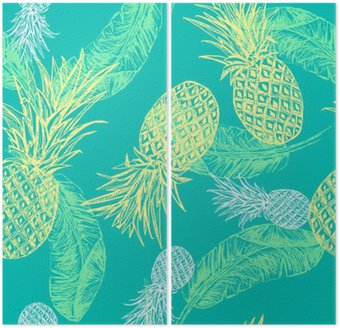 Tropical seamless pattern Diptych