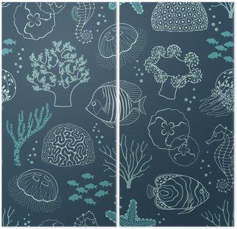 Underwater life pattern Diptych