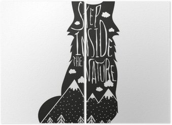 Vector hand drawn lettering illustration. Step inside the nature. Typography poster with fox, mountains, pine forest and clouds. Diptych