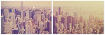 Vintage toned Manhattan skyline at sunset, NYC, USA. Diptych