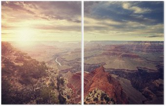 Vintage toned sunset over Grand Canyon, one of the top tourist destinations in the United States. Diptych