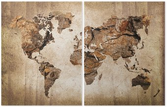Vintage wood world map Diptych