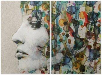 Watercolor female profile Diptych
