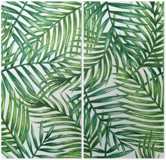 Watercolor tropical palm leaves seamless pattern. Vector illustration. Diptych