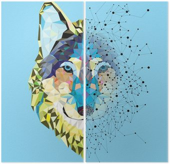 Wolf head in geometric pattern with star line vector Diptych