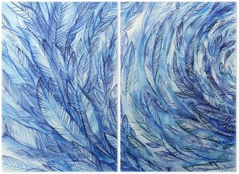 Diptychon blue feathers in a circle, watercolor abstract background
