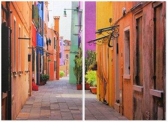 Diptychon Bunte Straße in Burano, in der Nähe von Venedig, Italien