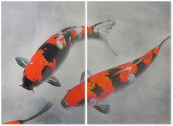 Diptychon Calico Koi Fisch-Aquarell-Illustration